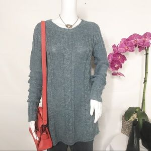 Prana Cable Knit Chunky Crew Neck Sweater Sz M